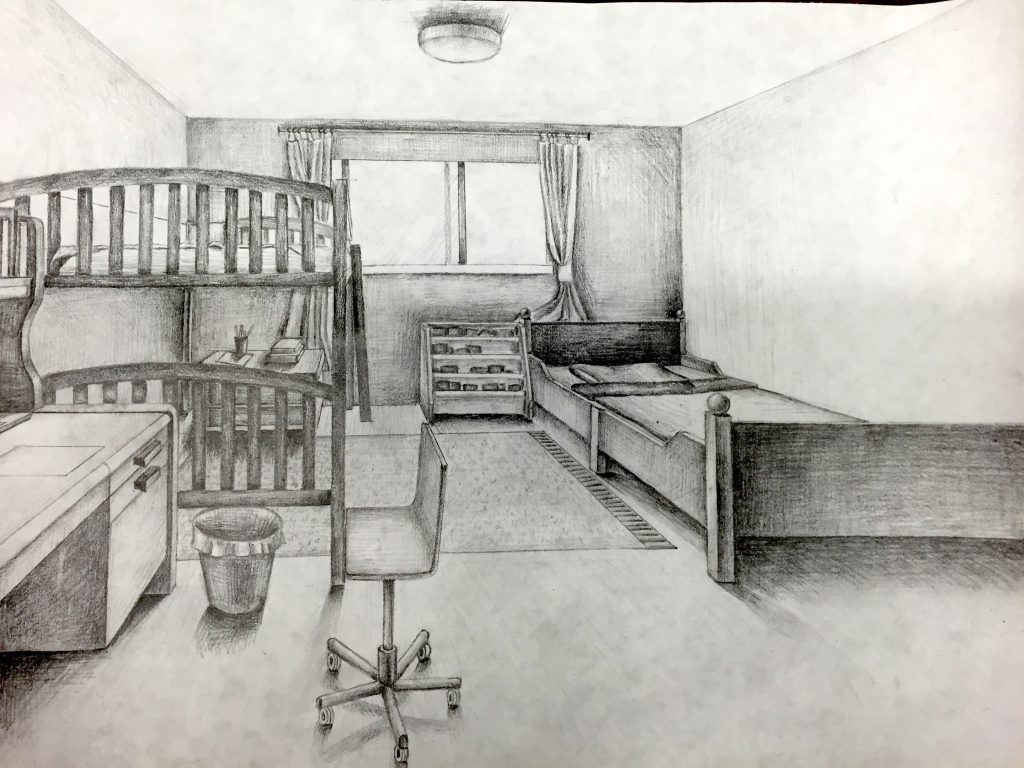how to draw an interior room in one point perspective