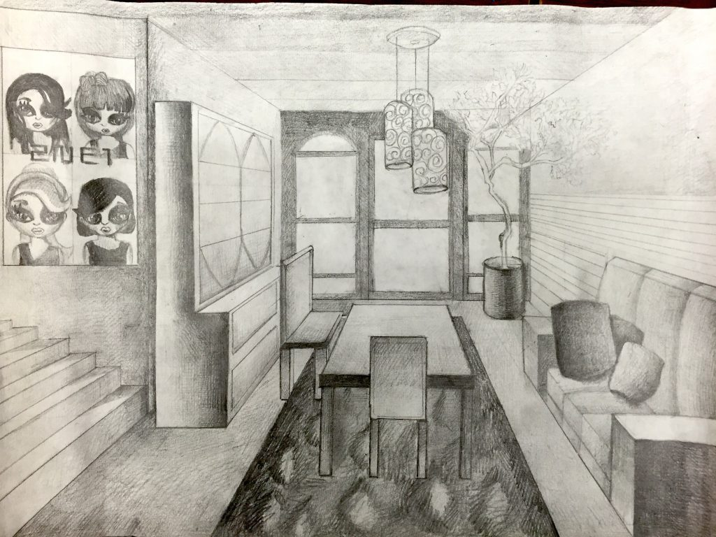One-Point Perspective Room Drawing – Jennifer Chen