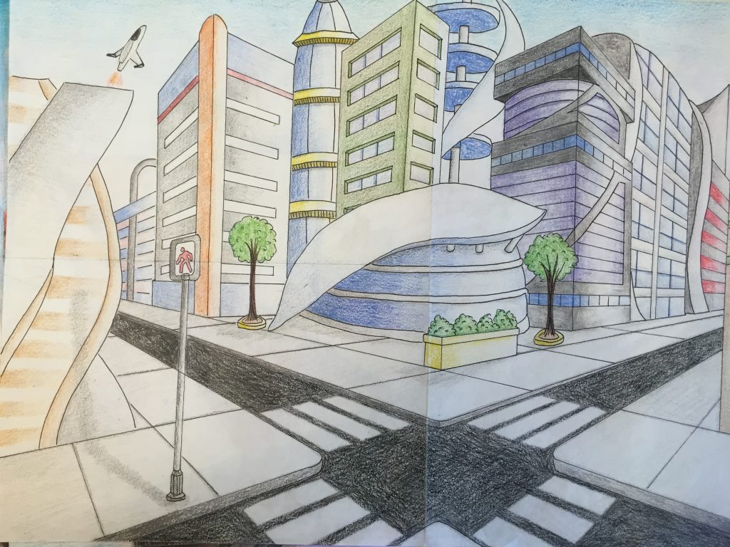 twopoint perspective futuristic city drawing � jennifer chen
