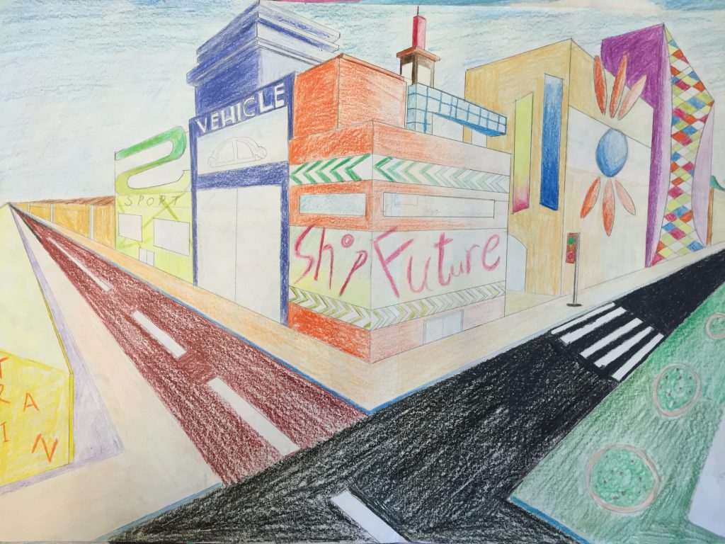 Point Art Element : Two point perspective futuristic city drawing jennifer chen