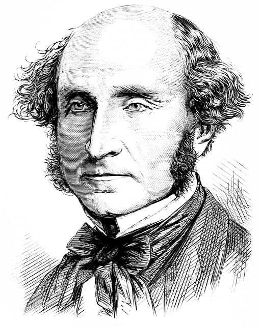 Engraving of John Stuart Mill from Popular Science Monthly, on Wikimedia Commons, public domain.